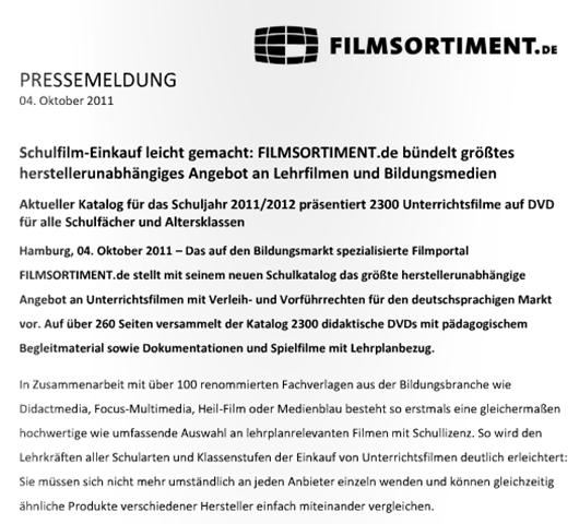 PRESSEMELDUNG    04. Oktober 2011    FILMSORTIMENT.de   Schulkatalog-115706