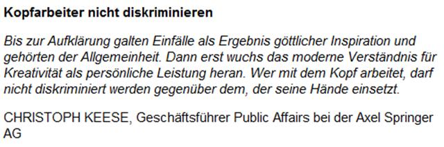 Mein Kopf gehört mir  Dieter Hahn, Dietmar Kawohl, Christoph Keese, Michael Konken, Antje Kunstmann - Kommentare - Meinung - Handelsblatt-190314