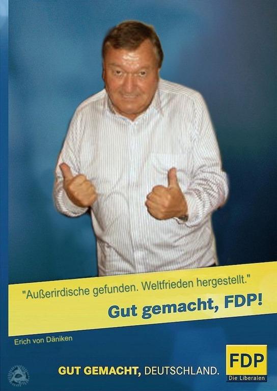 Erich von Däniken FDP Kampagne 2013