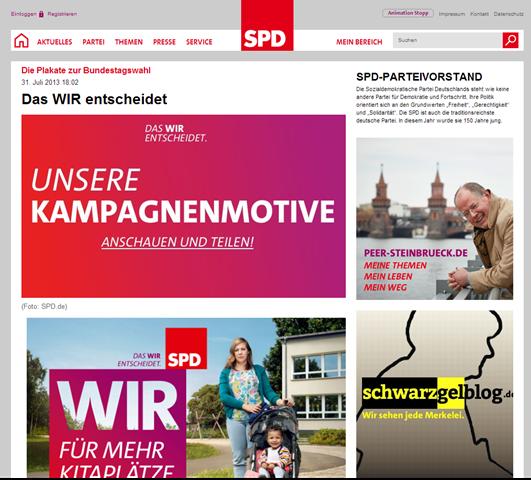 Nahles plakatiert Merkel statt Steinbrück. Hat die SPD schon aufgegeben