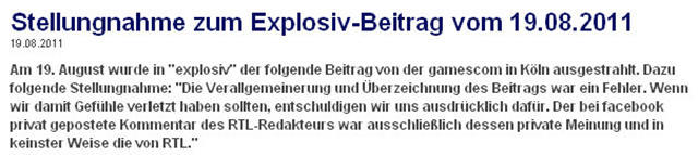 Stellungnahme RTL